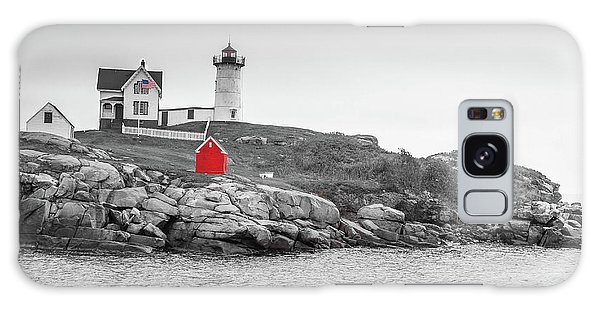 Galaxy Case featuring the photograph Nubble Lighthouse In Color And Black And White by Doug Camara