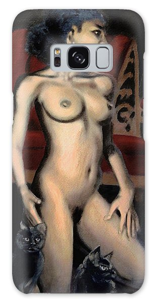 Nude Female Woman Kneeling With Cats Galaxy Case