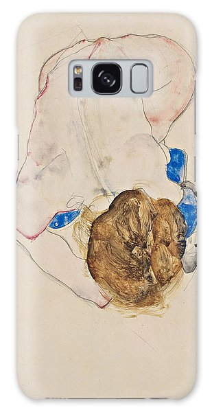 Nude With Blue Stockings, Bending Forward Galaxy Case