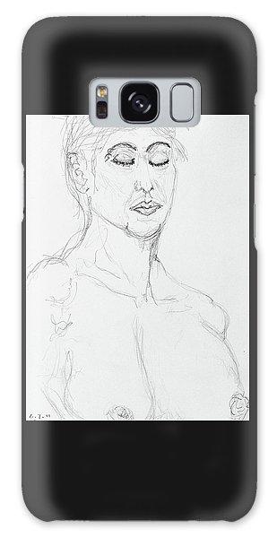 Nude With Eyes Closed Galaxy Case by Rand Swift
