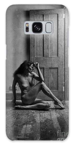 Nude Woman Sitting By Doorway In Abandoned Room Galaxy Case