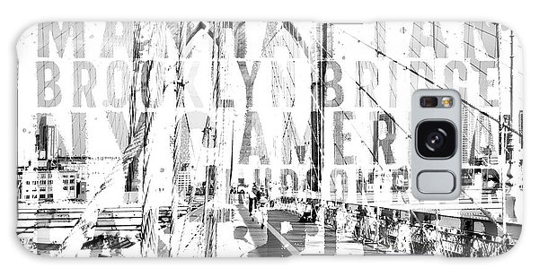 Black And White Art Galaxy Case - Nyc Brooklyn Bridge Typography No2 by Melanie Viola