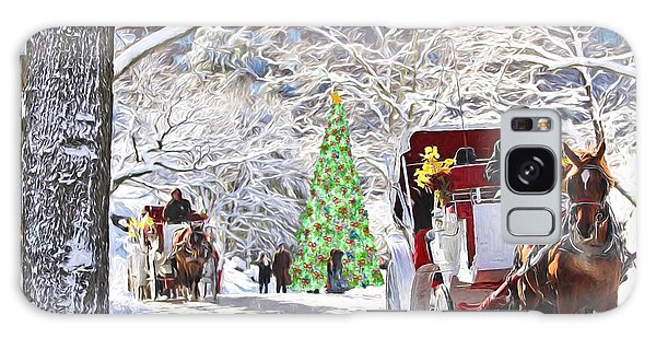 Festive Winter Carriage Rides Galaxy Case
