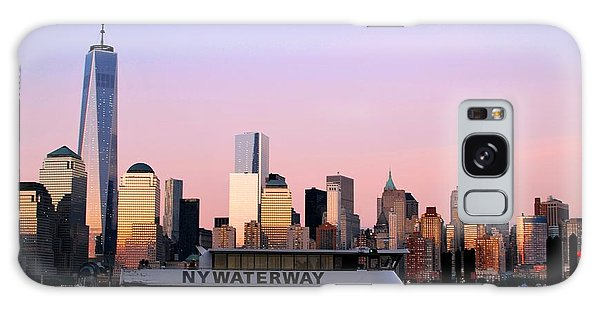 Nyc Skyline With Boat At Pier Galaxy Case
