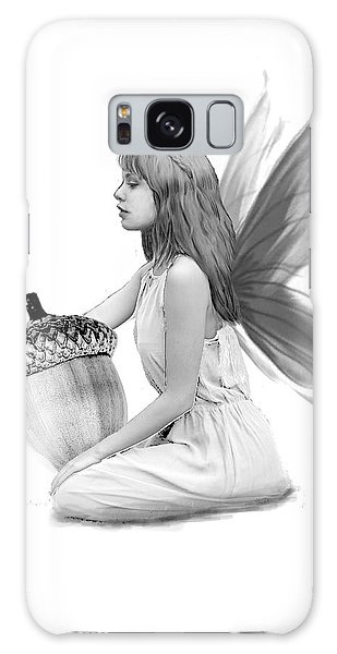 Oak Tree Fairy With Acorn B And W Galaxy Case