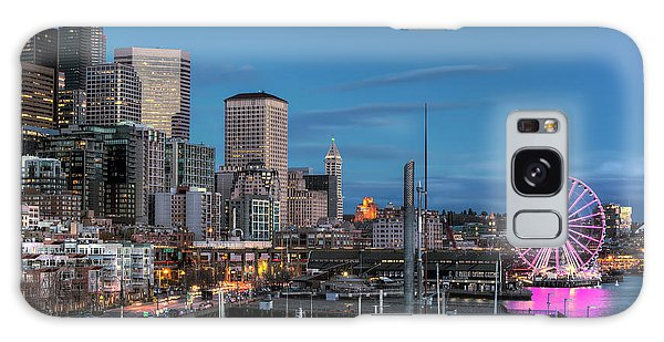 October Twilight Seattle Waterfront Galaxy Case