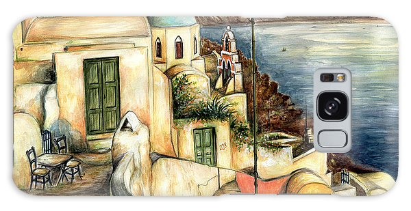 Oia Santorini Greece - Watercolor Galaxy Case