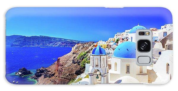 Oia Town On Santorini Island, Greece. Caldera On Aegean Sea. Galaxy Case