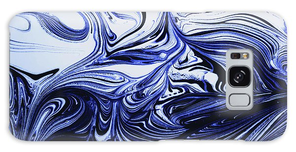 Oil Swirl Blue Droplets Abstract I Galaxy Case