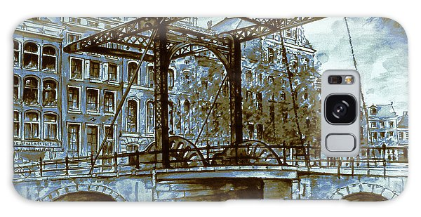 Old Amsterdam Bridge - Blue Water Color Galaxy Case by Art America Gallery Peter Potter
