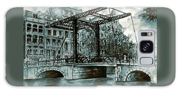 Old Amsterdam Bridge In Dutch Blue Water Colors Galaxy Case