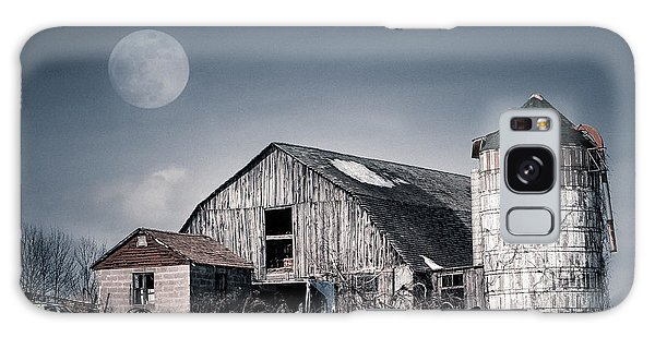 Galaxy Case featuring the photograph Old Barn And Winter Moon - Snowy Rustic Landscape by Gary Heller