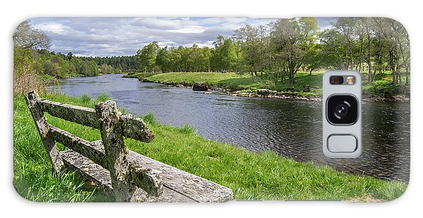 Old Bench Along Spey River, Scotland Galaxy Case