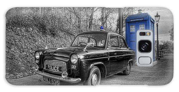 Old British Police Car And Tardis Galaxy Case