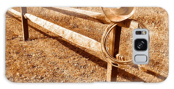 Fence Post Galaxy Case - Old Cowboy Hat On Fence - Sepia by Olivier Le Queinec
