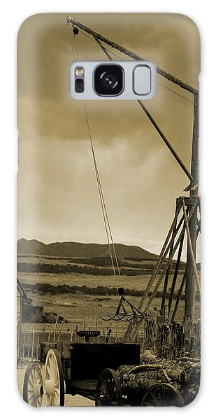 Old Crane And Shed Utah Countryside In Sepia Galaxy Case