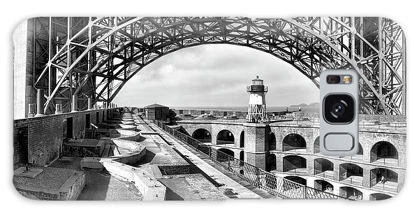 Old Fort Point Lighthouse Under The Golden Gate In Bw Galaxy Case