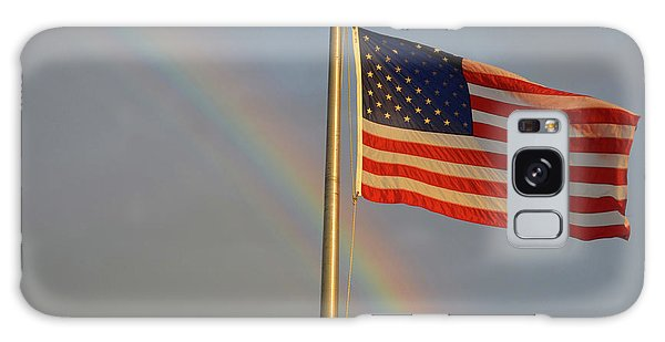 Old Glory And Rainbow Galaxy Case