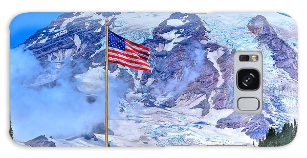 Old Glory At Mt. Rainier Galaxy Case
