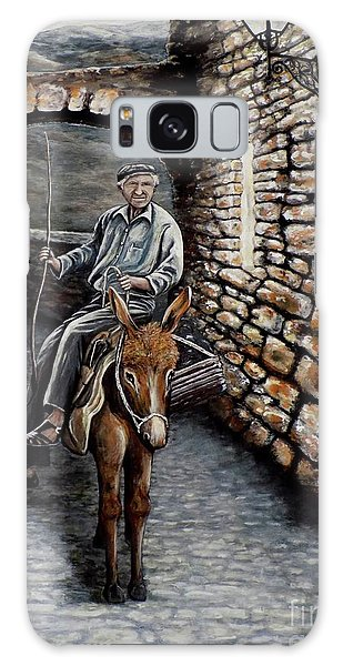 Old Man On A Donkey Galaxy Case by Judy Kirouac