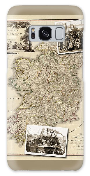 Vintage Map Of Ireland With Old Irish Woodcuts Galaxy Case