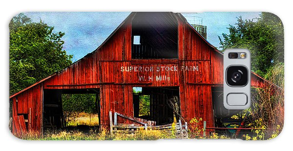 Old Red Barn And Wild Sunflowers Galaxy Case