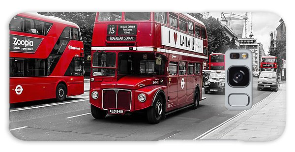 Old Red Bus Bw Galaxy Case