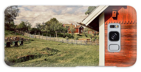 Old Red Farm Set In A Rural Nature Landscape Galaxy Case by Christian Lagereek