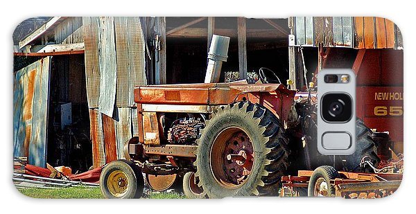 Old Red Tractor And The Barn Galaxy Case