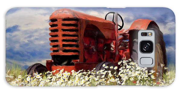 Old Red Tractor Galaxy Case