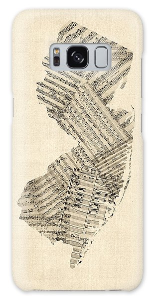 Old Sheet Music Map Of New Jersey Galaxy Case