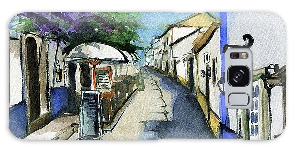 Galaxy Case featuring the painting Old Street In Obidos, Portugal by Dora Hathazi Mendes