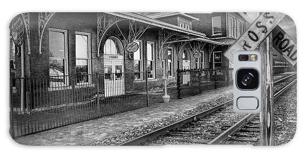 Old Train Station With Crossing Sign In Black And White Galaxy Case