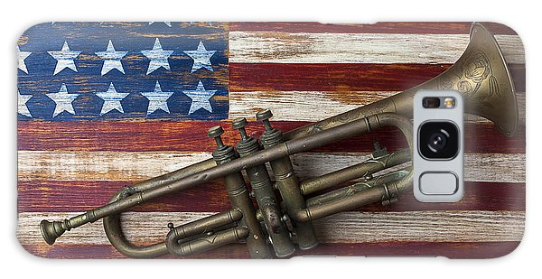 Old Trumpet On American Flag Galaxy Case