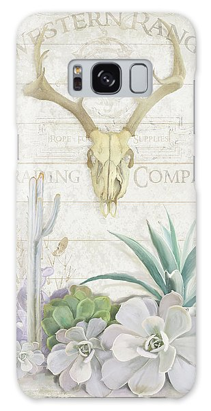 Old West Cactus Garden W Deer Skull N Succulents Over Wood Galaxy Case by Audrey Jeanne Roberts