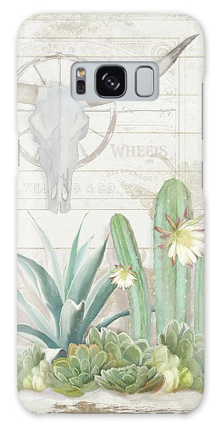 Old West Cactus Garden W Longhorn Cow Skull N Succulents Over Wood Galaxy Case