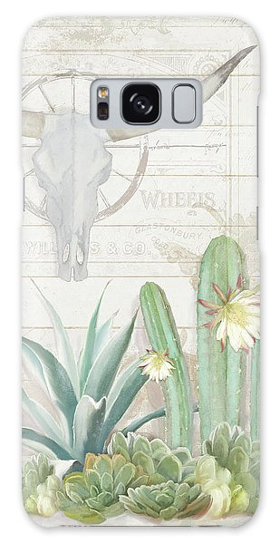 Old West Cactus Garden W Longhorn Cow Skull N Succulents Over Wood Galaxy Case by Audrey Jeanne Roberts