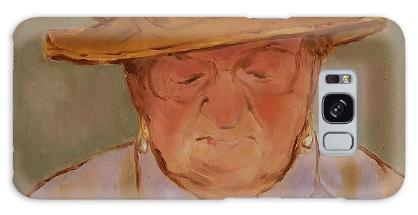 Old Woman With Yellow Hat Galaxy Case