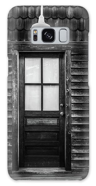 Old Wood Door And Light Black And White Galaxy Case by Terry DeLuco