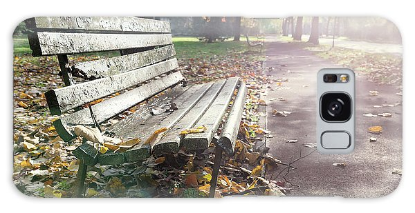 Rustic Wooden Bench During Late Autumn Season On Bright Day Galaxy Case