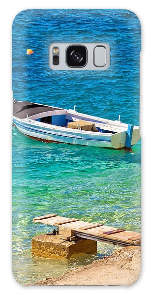 Old Wooden Fishermen Boat On Turquoise Beach Galaxy Case by Brch Photography