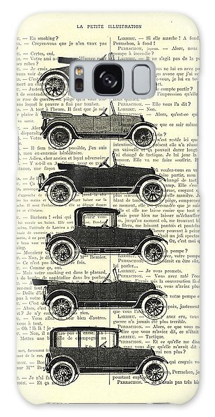 Automobile Galaxy Case - Collection Oldtimers In Black And White Vintage Illustration by Madame Memento