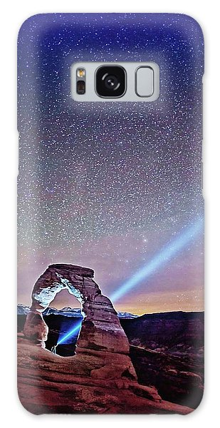 Olena Art Starry Night Pointer At Delicate Arch Moab National Park Galaxy Case