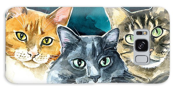 Oliver, Willow And Walter - Cat Painting Galaxy Case