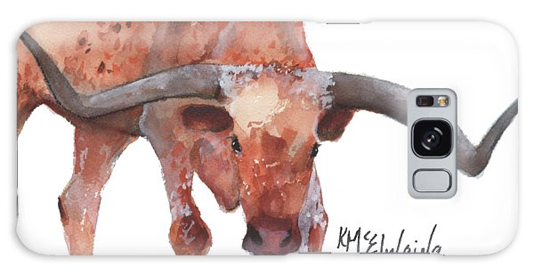 On The Level Texas Longhorn Watercolor Painting By Kmcelwaine Galaxy Case