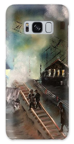 Galaxy Case featuring the painting On The Pennsylvania Tracks by Denise Tomasura