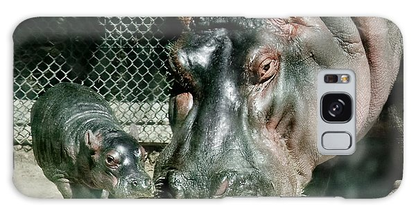 One Day Old Baby Hippo And Mom Galaxy Case