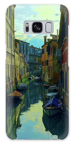 one of the many Venetian canals at the end of a Sunny summer day Galaxy Case