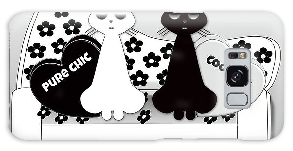 Opposites Attract - Black And White Cats On The Sofa Galaxy Case