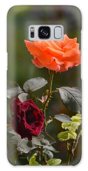 Orange And Black Rose Galaxy Case